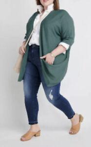 "Ryllace NWT $198 Silk Blend Open ""Villa"" Kimono Cardigan Plus 3X Green"