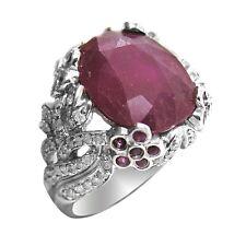 De Buman 15.19ctw Genuine Ruby & Diamond Solid 14K White Gold Ring Size 7.25