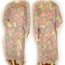 ALFRED DUNNER 2pc Multicolor Pastel Floral Print Long Sleeve Georgette Dress M 8