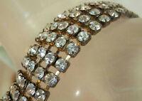 Pretty Vintage 50's-60's 5 Row Prong Set Rhinestone Bracelet 195MY6