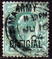 """1902 Sg O48r ½d blue-green M1 Army Official with Short """"Y"""" Fine Used"""
