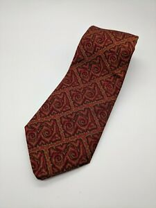 Gianni Versace Couture Silk Tie Geometric Ethnic Design Burgundy Red Gold