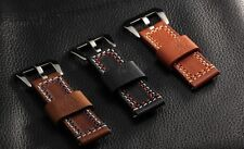Banda Double stitched Black Leather Watch Strap for Panerai
