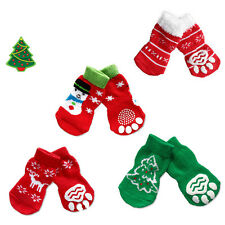 4pcs Pet Dog Christmas Sneakers Non-slip Socks Paws Cover Shoes Bootie Set Gift/