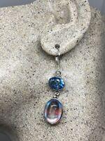 Vintage White Opal Glass Blue Topaz Lever Back Earrings 925 Sterling Silver