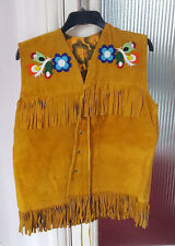 Vintage CANADIAN CREE INDIAN Beaded Fringed Moose Hide VEST JACKET Unworn Handma