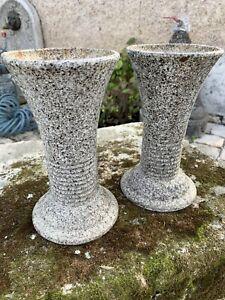 Pair Antique French Art Deco Cast iron + enamel Vases flower Pots urns