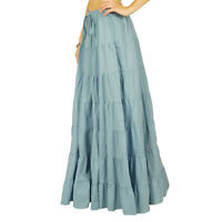 Indian Phagun Wear Skirt Long Maxi Gray Skirt Beach Wear Cotton Summer Wear