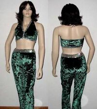 Jive Bunny Dance Costume Green Crushed Velvet Bra Top and Pants New Adult Large