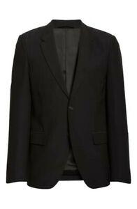 ■776 Helmut Lang Men's Black Two Button Cotton Rayon Viscose Blazer Sz 40 Italy
