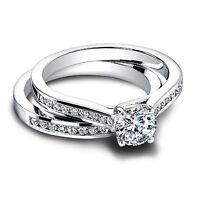 0.90 ct Diamond Wedding Engagement Ring Sets 14k White Gold Round Cut Size M N P