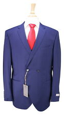NWT New * CANALI * Current Dark Cobalt Blue Double Breasted 3-Pc Wool Suit 36R
