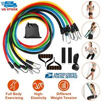 11 PCS Yoga Set Resistance Band Pilates Abs Exercise Fitness Tube Workout Bands