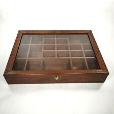 Solid Wood Glass Door Trinket Shadow Box Hanging Display Shelf Case 22 Space