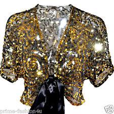 Dolce & Gabbana Black Tulle Gold Sequin embellished short sleeves Bolero Shrug