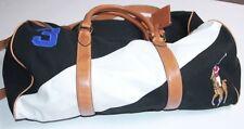 Polo Ralph Lauren Canvas Black Watch Leather Big Pony  Duffel Bag