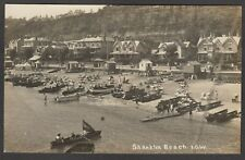 Postcard Shanklin Beach boats buildings etc early view RP