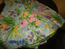 """VINTAGE PINK BLUE VIOLET YELLOW GREEN FLORAL LARGE OUND TABLECLOTH 90"""""""
