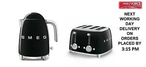 SMEG Retro Black Kettle & 4 Slot 4 Slice Toaster - KLF03BLUK & TSF03BLUK (New)