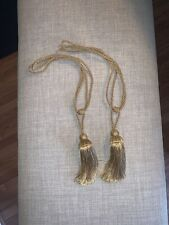 Pair of Vintage Curtain Drapery Rope Tie Backs Tassel Fringe Gold