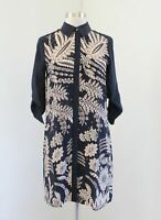 Club Monaco Navy Blue Beige Floral Paisley Print Silk Shift Shirt Dress Size 00