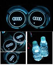 2PCS for Audi LED Car Cup Bottle Holder Pad Mat Auto Interior Atmosphere Lights