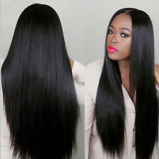 "24"" Natural Long Straight Black Heat Resistant Synthetic Full Wig Fashion Party"