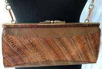 Tolle zeitlose Damen Handtasche Clutch beige-braun 28x15x10 SCHLANGENLEDER-Optik