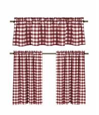 Wine Red & White Checkered Plaid Kitchen Tier Curtain Valance Set