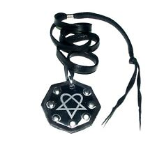 Heartagram Gothic HIM Metal Pewter Pendant Necklace Choker Black Cord-ADJUSTABLE