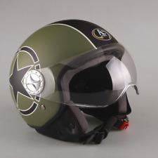 Casco DEMI JET Militare Verde Opaco per Scooter Moto Motorino Visiera OMOLOGATO