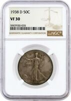 1938 D 50C Walking Liberty Silver Half Dollar NGC VF30 Circulated Key Date Coin