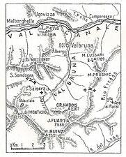 D0433 La Valbruna - Carta geografica d'epoca - 1924 old map