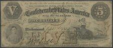 Csa #T-32 $5 Confederate States Of America Fine App Cut Out Cnl (Repair) Wl8398