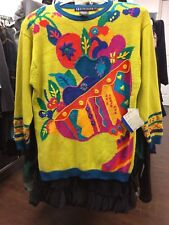 Womens VTG 90s NWT IB Diffusion Bright Multi-Color Ramie Cotton Long Sweater LG