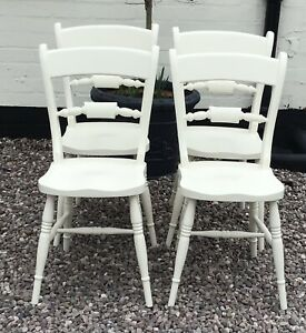 Dining chairs kitchen chairs x 4 Shabby Chic Victorian style stunning very heavy