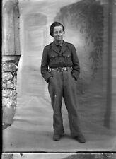 Portrait studio Militaire ancien négatif photo verre c1940