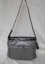 New Women's Ohh Ashley Lambskin Leather Shoulder Large Handbag Organizer Pewter