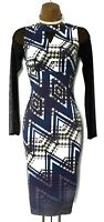Karen Millen 8 Uk Geometric Long Sleeve party wedding Dress Blue Purple White