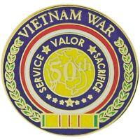 VIETNAM WAR VETERAN 5OTH ANNIVERSARY SERVICE VALOR SACRIFICE RIBBON PIN