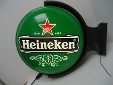 Heineken Beer Light up Rotating Advertising Sign Double Sided Rare - Very Nice
