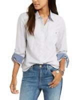 MSRP $60 Tommy Hilfiger Metallic-Striped Utility Shirt White Size XS (Stained)
