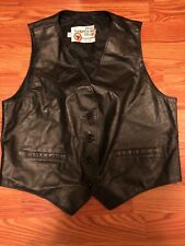 VTG The Leather Shop Sears Roebuck Biker Womens Black Leather Vest Size 16