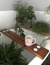 wooden bath board caddy wine candles and tablet holder gift for her Christmas