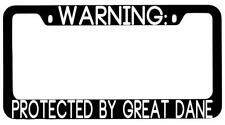 Warning Protected By Great Dane Black Metal License Plate Frame Auto
