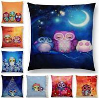 "18"" Cotton Linen Owl animal Pattern Sofa Decor Throw Pillow Case Cushion Cover"
