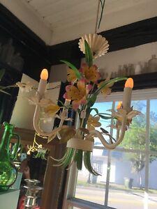 Vintage Tole Chandelier, Iris Flowers.  Four lights.