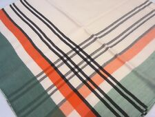 Vintage 40's Orange Green Black & Cream Plaid Border Cotton Rayon Tablecloth
