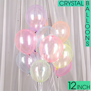 "10-100PCS Clear CRYSTAL LATEX BALLOONS 12""INCH Helium Party PARTIES Wedding UK"