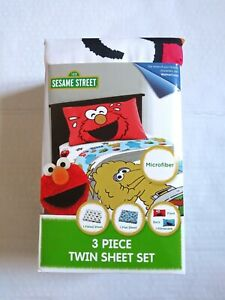 Sesame Street 3 Piece Microfiber Twin Bedding Sheet Set Pillowcase Kids Children